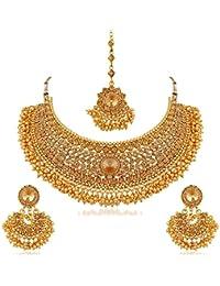 Sapna FX Traditional Gold Plated Kundan Choker Necklace Set For Women