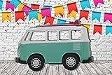 Photocall Coche de Juguete Furgoneta Turquesa Lateral Eventos o Celebraciones | Medidas 2,00 m x 1,36 m | Fiestas y Celebraciones | Cartón Microcanal