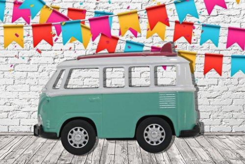 Photocall-Coche-de-juguete-Furgoneta-turquesa-lateral-eventos-o-celebraciones-Medidas-200-m-x-136-m-Fiestas-y-Celebraciones-Cartn-Microcanal