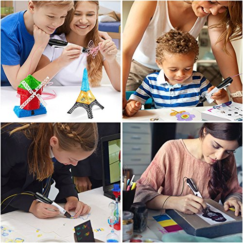 3D Pen + PLA Fliament Set, Lovebay 3D Stift mit LCD-Bildschirm + 12 Farben je 3,1M, Φ1,75 mm 3d Filament - insgesamt 120 Feet, DIY Geschenk für Kinder Anfänger Erwachsene Zeichnung, kompatibel mit 1,75 mm ABS/PLA 3D Printing Material - 7