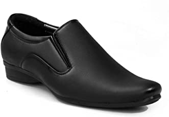 Levanse Black Synthetic Leather Formal Slip on Office, College Shoes for Men & Boys.