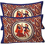 RajasthaniKart 100% Cotton Pillow Cover (Set Of 2) -Ethnic Dandiya Print, Multicolor - Blue