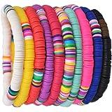 EXCEART 10 Piezas Pulsera de Arcilla Polimérica Pulseras Heishi Pulsera de Cuentas de Arco Iris Pulseras de Surfista Boho Pul