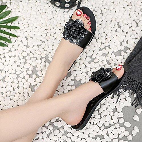 Longra Donna Pattini decorati con fiore di personalità di moda Nero