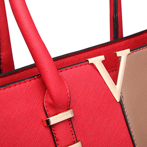 Miss Lulu, Damen Tasche 1666 Red & Brown