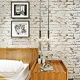 HANMERO murales pared papel pintado imitación ladrillo piedras no tejido papel de pared dormitorios/salón/hotel/fondo de TV, color crema blanco,0.53M*10M
