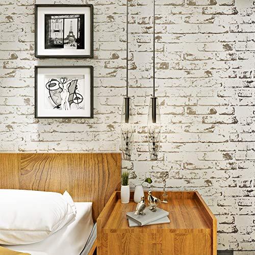 HANMERO - Carta da parati con reale imitazione di muro in mattoni - lunghi murales 3d in Vinile per soggiorno e decorazione camera da letto, bianca--10m*0.53m