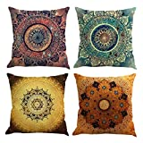 Gspirit 4 Pack Retro Mandala Bohemia Algodón Lino Throw Pillow Case Funda de Almohada para Cojín 45x45 cm