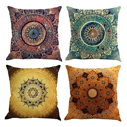 Gspirit 4 Pack Retro Mandala Bohemia Algodón Lino Throw Pillow Case Funda de Almohada para Cojín 45x45...
