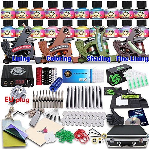Dragonhawk Professional Tattoo Kit 4 Kinds Of Machines 20 Immortal Color Inks Top CE Power Supply D139EUYMX