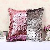 Pailettes Zhuotop colorate vogue doppio colore lustrini sirena divano cuscino federa reversibile Pink+Silver
