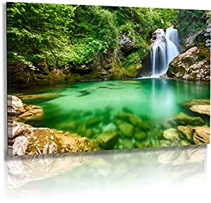 premium leinwand landschaftsbilder naturbilder slovenien felsen wasserfall. Black Bedroom Furniture Sets. Home Design Ideas