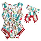 RAISEVERN Onesies senza maniche Baby Girl Outfit bianchi Summer Christmas Theme Sunsuit con calze Tree Stampa Regalo neonato 0-3 Mesi