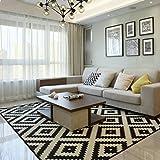 Schlichter und moderner Stil, kariert, gestreift, für Wohnzimmer, Schlafzimmer, Nachttisch, Zuhause, waschbarer Teppich, rutschfeste rechteckige Teppiche, Sofa, Couchtisch, Teppich, Schwarz und Weiß, D, 80x160cm