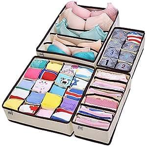 Lot de 4 Boîtes de rangement avec séparation pour tiroir à sous-vêtements