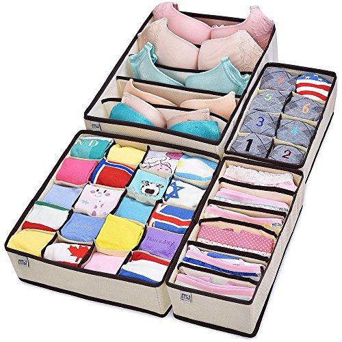 3Ybird Miu Color - Organizadores del armario para ropa interior, 4 cajas divisoras, color crema y marrón