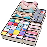 Drawer Organisers Collapsible Closet Dividers and Foldable Storage Box for bras, underwear, socks, neck ties, scarves, and any accessories - 4 Set - by MIU COLOR