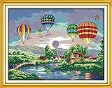 Kits de broderie au point de croix - Das beste Motif de Ballon à air chaud brillant DIY Kit Fait à la Main 14CT pour la Décoration de Maison 60 * 47cm Décoration chambre(Pas de cadre)