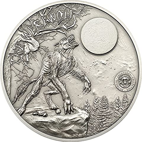 WEREWOLF Mythical Creatures Collection Silver Coin 2 Oz 10$ Palau 2013 Moneda