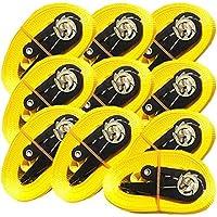iapyx - Lote de 4 correas con trinquete (5 metros, 800 kg, norma EN 12195-2), color amarillo