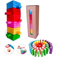 Cable World® Zenga Wooden Blocks 54 Pcs Challenging Color Wooden Tumbling Tower, Toys with Dices Board Educational…