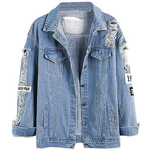 Keven Damen Jeansjacke mit Patches Stretch-Denim Cut-outs Blau Lose Blouson Jacket (EU 42/L)