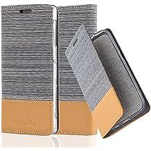 Cadorabo - Funda Estilo Book para Sony Xperia Z1 de Diseño Tela / Cuero Arificial con Tarjetero, Función de Suporte y Cierre Magnético Invisible - Etui Case Cover Carcasa Caja Protección en GRIS-CLARO-MARRÓN