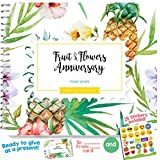 4TH WEDDING ANNIVERSARY GIFTS FOR COUPLES – Four Years Memory Journal For Husband Or Wife | Fruits And Flowers Anniversary Booklet With Love Quotes And Frames To Add Your Pictures For Him Or Her