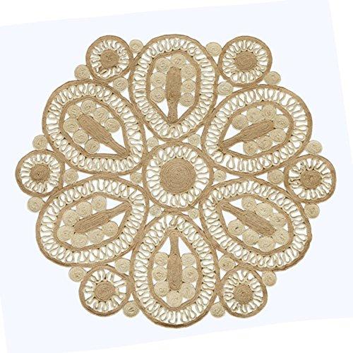 Hecho a mano trenzado redondo yute Natural alfombra (150cm de diámetro, grande)...