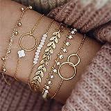 Branets Boho - Set di braccialetti con perle dorate, motivo geometrico, a forma di foglia, per donne e ragazze (6 pezzi)