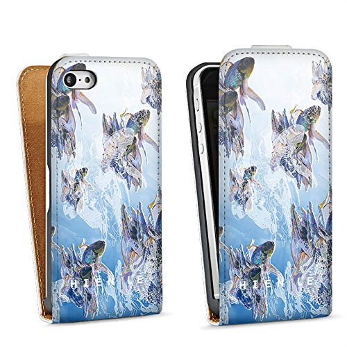 Apple iPhone 5s Housse Étui Protection Coque HIEN LE Poisson rouge Poissons Sac Downflip blanc