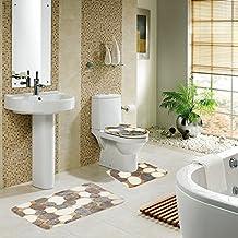 Diossad Badematte Set 3 Teilig Polyesterfaser Badezimmerteppich Rutschfest  Badvorleger WC Vorleger Toilettensitzabdeckung