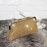 SSMK Fashion Womens Glitter Clutch Bag Bling Evening Bridal Prom Party Handbag Purse (Gold)