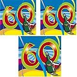 berlin-ballons 3er Pack Servietten 60 Stück Zahl 60 Zum Geburtstag Party