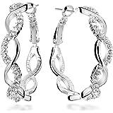 Gemini da donna 18K riempito di cristallo rotondo orecchini a cerchio, per donna San Valentino, idea regalo per regali GM045