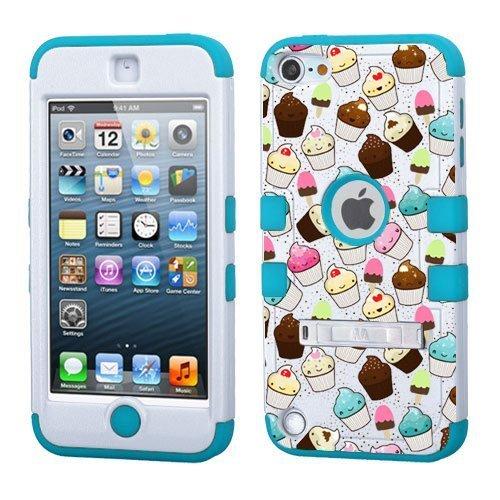 iPod Touch 5. 6. Generation Weiß Kunststoff/Blau Silikon 3-Stil Hybrid Hard Schutzhülle für Apple- für Mädchen und Boys-Shockproof Staubfrei, mit Ständer, Cupcakes