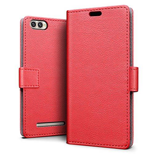 SLEO Doogee X30 Hülle, Leder Case PU Ledertasche Magnet [Vollständigen Schutz] Flip Case mit Standfunktion Kartenfächer im Bookstyle für Doogee X30 - Rot