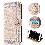 Shinyzone Huawei P20 Lite Glitzer Brieftasche Hülle,3D Blume Diamant Luxus Strass Magnetverschluss PU Leder Handytasche mit Kartenfächer,Kratzfest Stoßfest Silikon Bumper,Golden