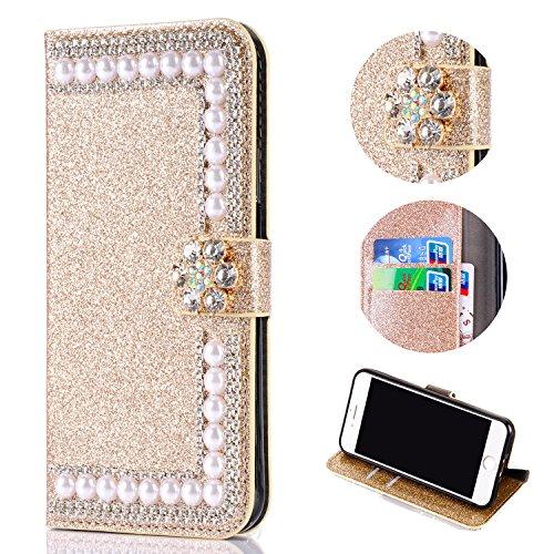 Shinyzone Glitzer Brieftasche Hülle für Samsung Galaxy A6 2018, Diamant 3D Blume Magnetverschluss Standfunktion Flip Ledertasche mit Kartenfächer Schutzhülle,Golden -