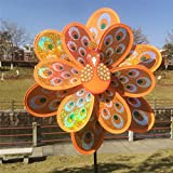 Autone molinillo de viento de doble capa, diseño de pavo real con lentejuelas, juguete colorido para niños, naranja