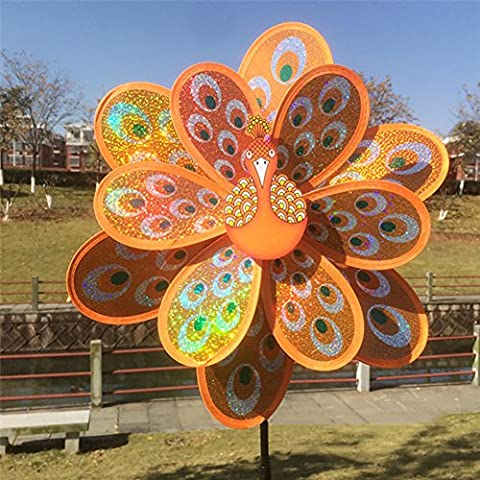 Dairyshop Kids Toy Double Layer Peacock Laser Sequins Windmill Colorful Wind Spinner (Orange)