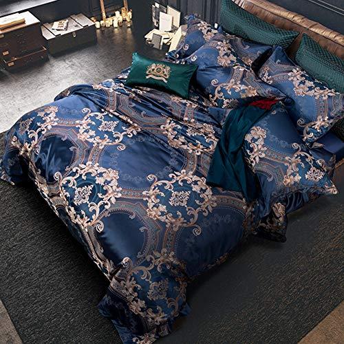 JR%L Königin König Shop Baumwolle Bettbezug, Jacquard 10 Stück Tagesdecke Kissenbezüge Alle Jahreszeiten Allergiker Gedruckt Maschine Waschbar-a Queen1