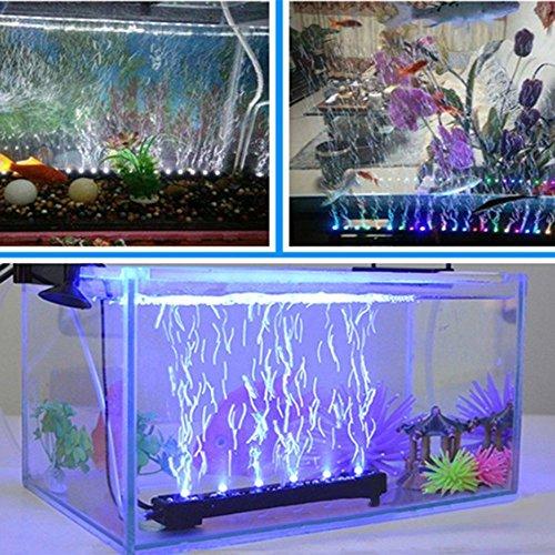 Louvra LED Aquarium Beleuchtung RGB Aquarienbeleuchtung mit Saugnapf Unterwasserleuchte Lichtleiste Tageslichtsimulator Wasserdicht IP68, 21*LED, 55cm,2.1w