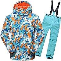 Gimitunus Chaqueta de esquí con Capucha y Pantalones Impermeables, a Prueba de Viento, para niños, cálidos y Resistentes al Viento, con 2 pzs. (Color : Marrón Claro, tamaño : 146/152)