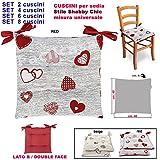FACILCASA Coussin pour Chaise, modèle millecuori Housses Coussin, Coussin modèle Shabby, cœurs, tyrolien, Rustique Set 4 CUSCINI Rouge