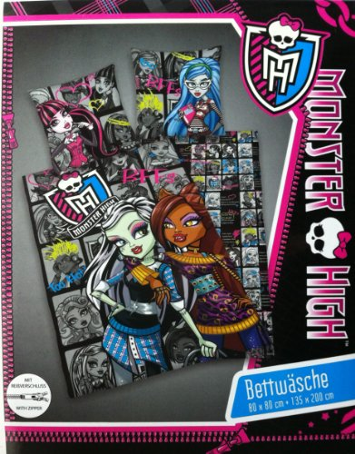 Monster High Bettwäsche (Wendebettwäsche), 1 x Kissenbezug 80 x 80 cm und 1 x Bettbezug 135 x 200 cm, 100 % Baumwolle mit Reißverschluss
