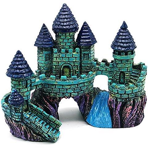 QHGstore Fish Tank resina acuario accesorios del ornamento de la decoración del castillo