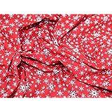 Tissu en polycoton Imprimé Flocon de Neige de Noël Rouge, Blanc–par mètre + sans Minerva Crafts Craft Guide