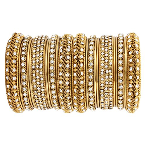 Jubilant Fashions Gold Plated Wedding Bridal Chuda / Chura Bangles Set studded with white stones for Women (E402) (2.4)