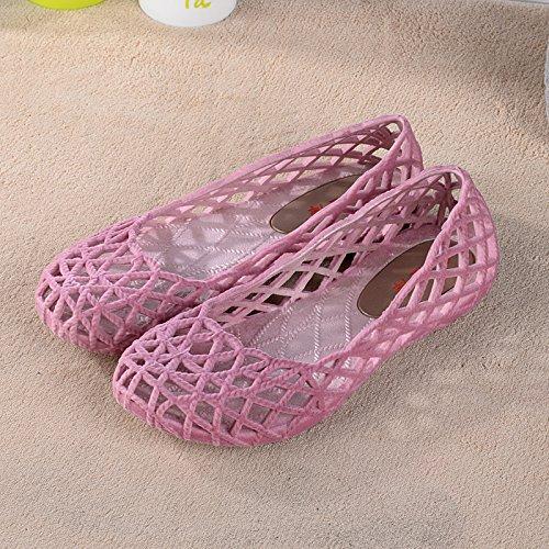 Xing Lin Chaussures D'Été Hommes Mesdames Chaussons Été Pente Avec Des Chaussons En Plastique Épais Antidérapant Chaussures Mesh Chaussures Infirmières Télévision Joker light pink